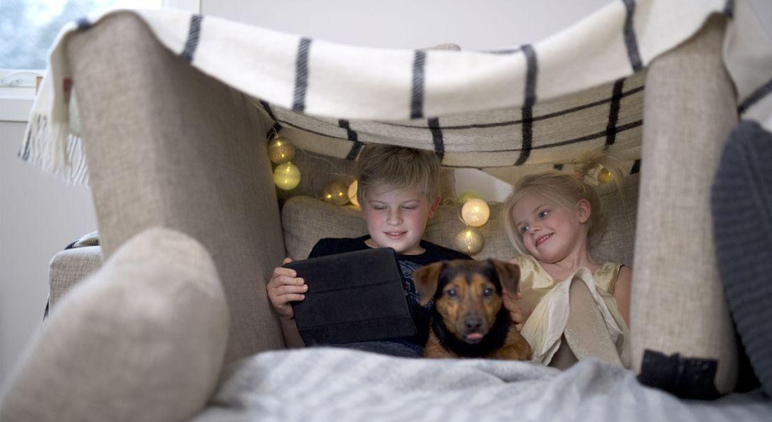To barn og en hund ser på et nettbrett under et teppe.