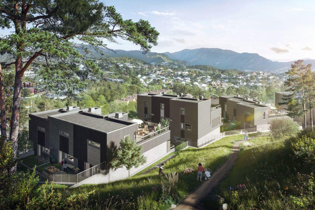 Illustrasjon av rekkehus på Nytreet i Bergen
