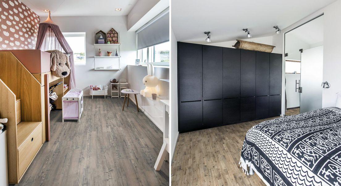 Todelt bilde - Bilde av soverommet til et barn til venstre, et bilde av et soverom med sort garderobe til høyre.