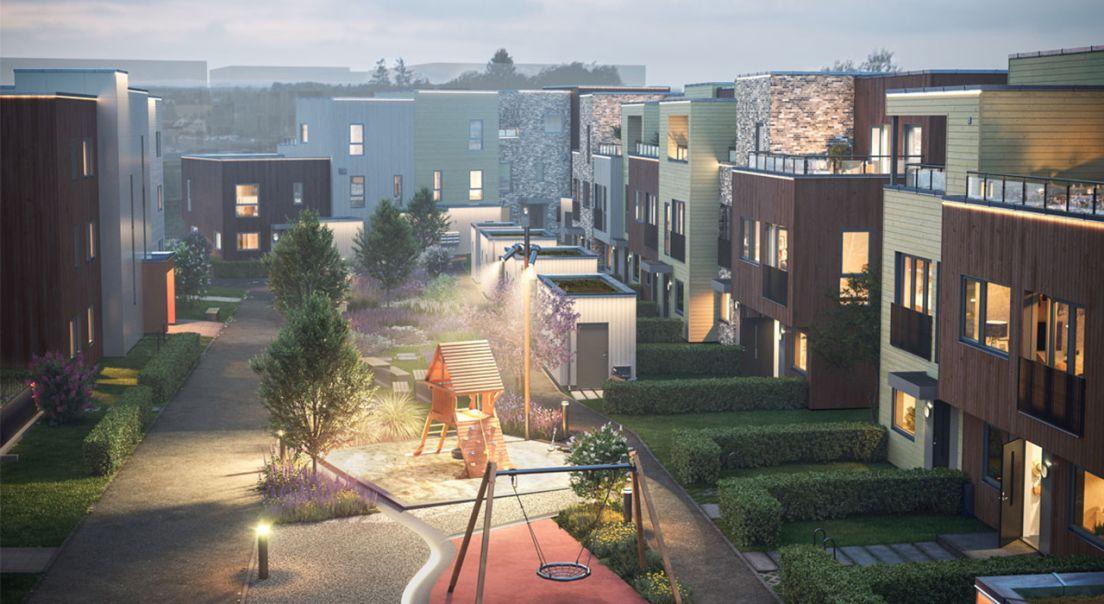 Stemningsbilde av tunet i byggeprosjektet Lysløypa i Ås.