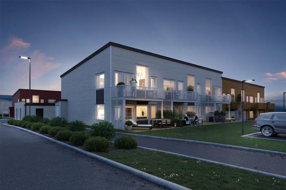 Illustrasjon av fasade, gate og parkering om kvelden, Hus 9, Tyrihellinga