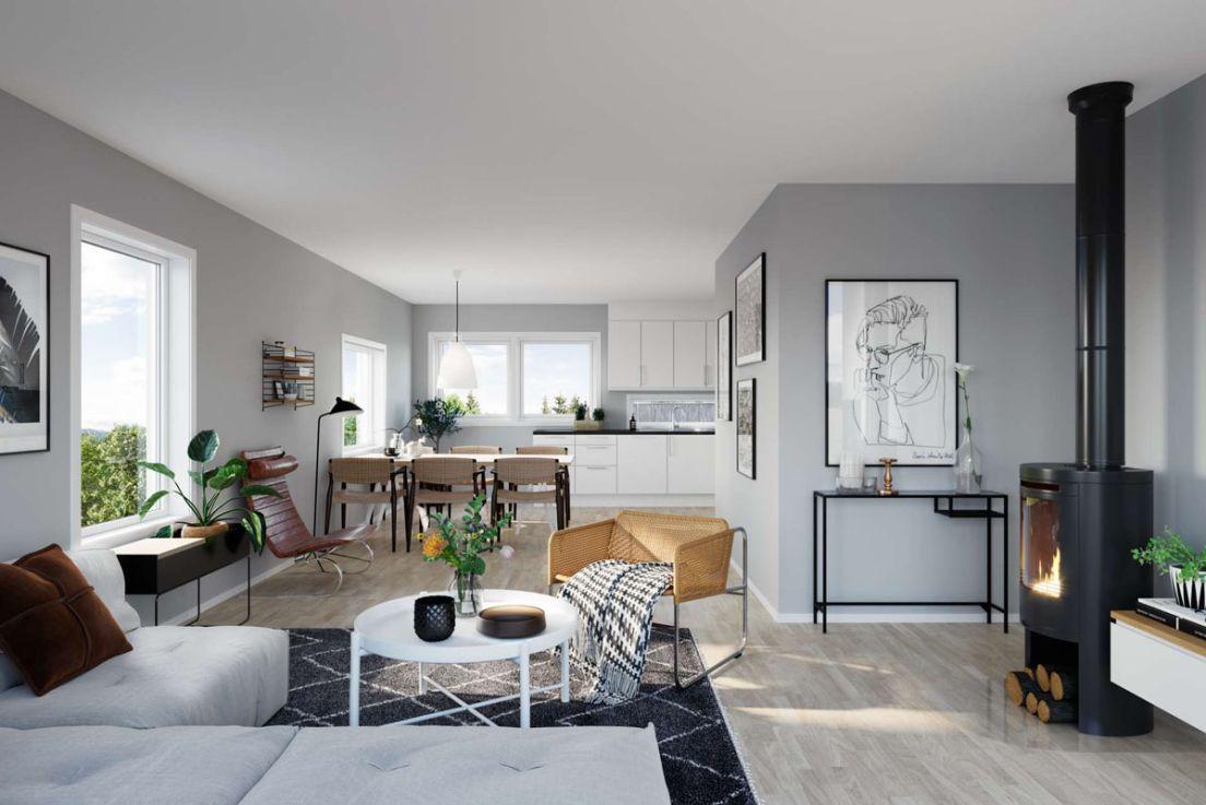 Illustrasjon av stue og kjøkken i rekkehus 20-27