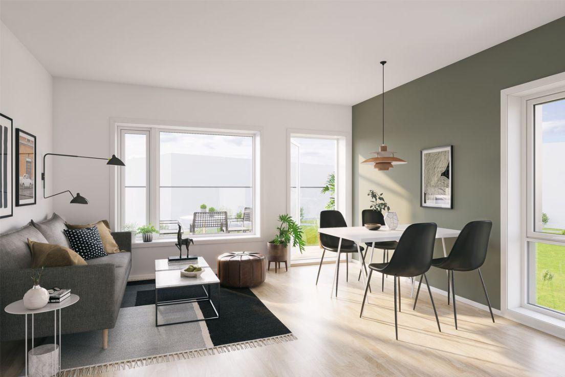Illustrasjon av sittegruppe og stue i blokk A, leilighet 303.