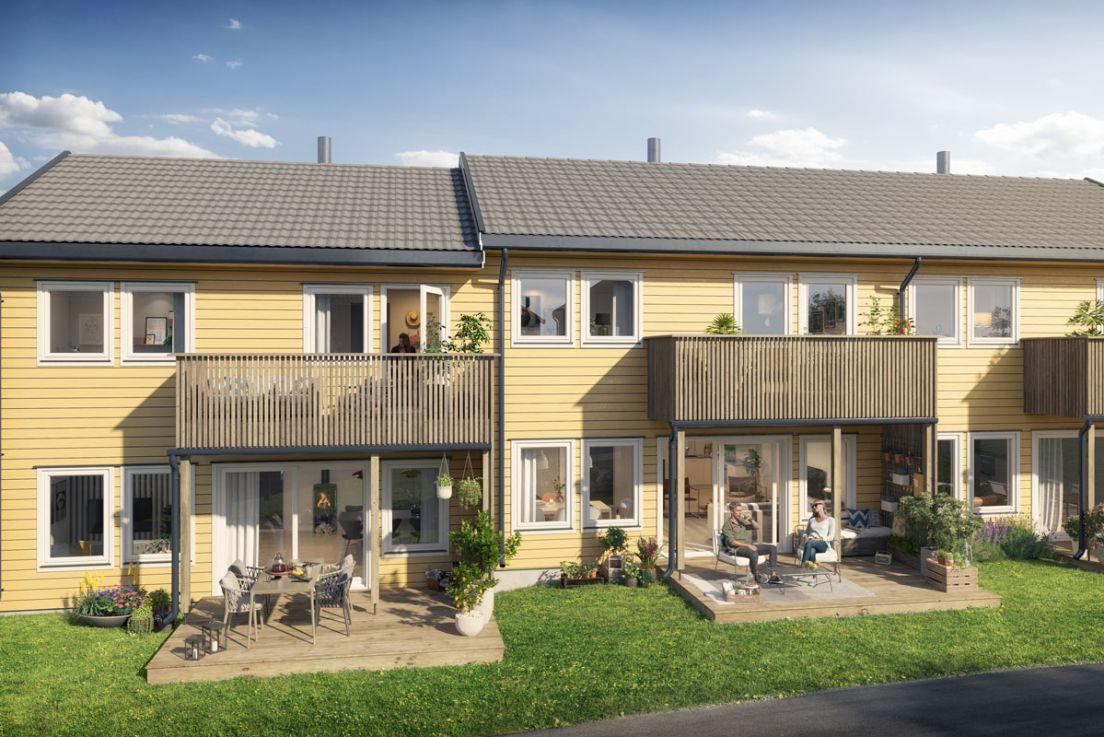 Illustrasjon av fasade I, hageside i boligprosjektet Litjeskjeet