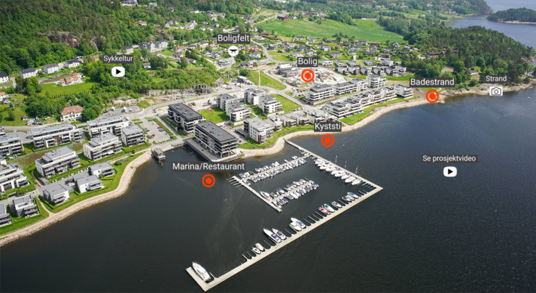 Oversiktsbilde over boligprosjektet Engersand Havnehage i Lier.