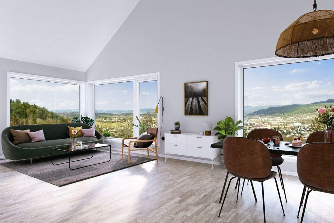 Illustrasjon av stue med utsikt