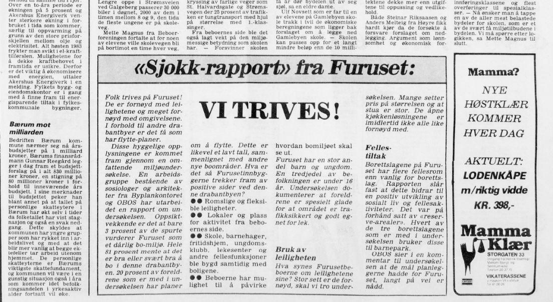Utklipp av innlegg i Arbeiderbladet i 1980