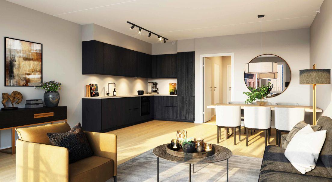 Illustrasjon av kjøkken med mørke fronter og sofaområde i Stilla borettslag