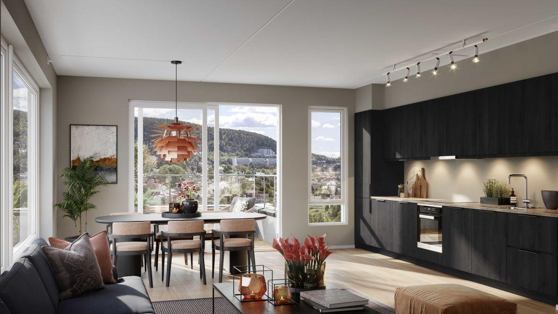 Bilde av stue og kjøkken med balkong, og utsikt over Frysjaveien