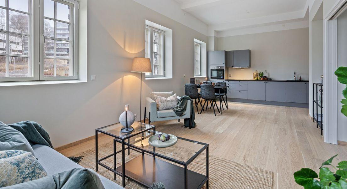 Stue og kjøkken i Turbinveien i leilighet i andre etasje.