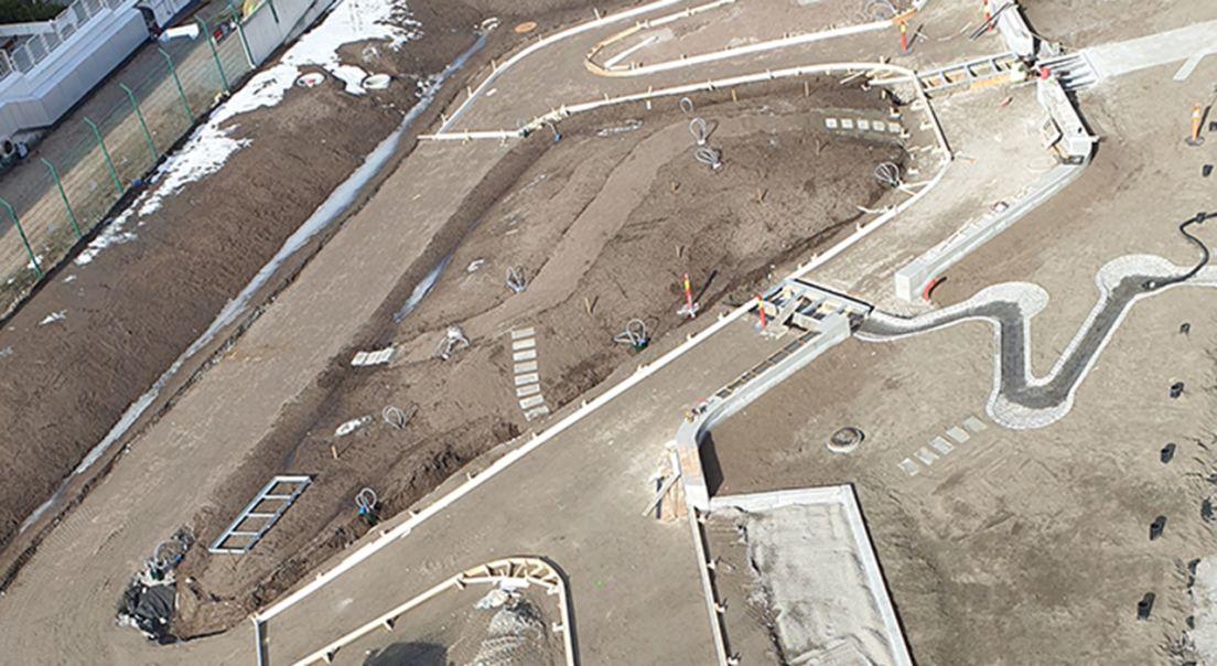 Oversiktsbilde av Ulven Park på nært hold på dagtid under byggingen.