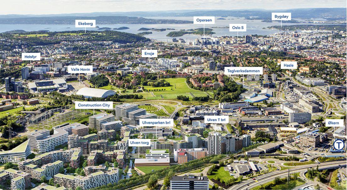 Oversiktsbilde av Ulven og Oslo by.