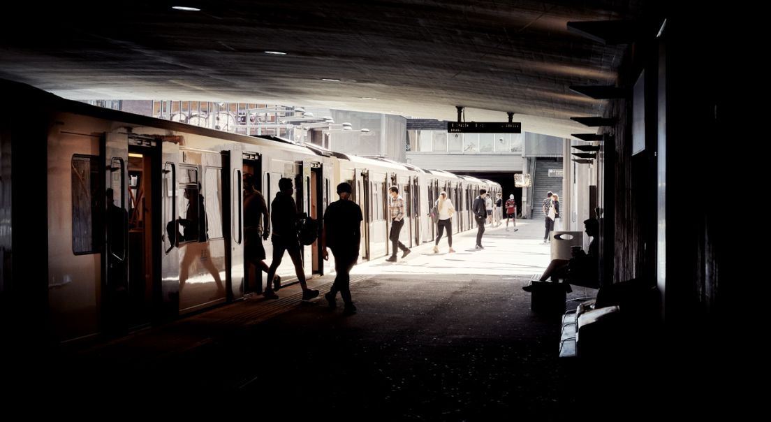 Travelt T-banestopp ved Ulven.