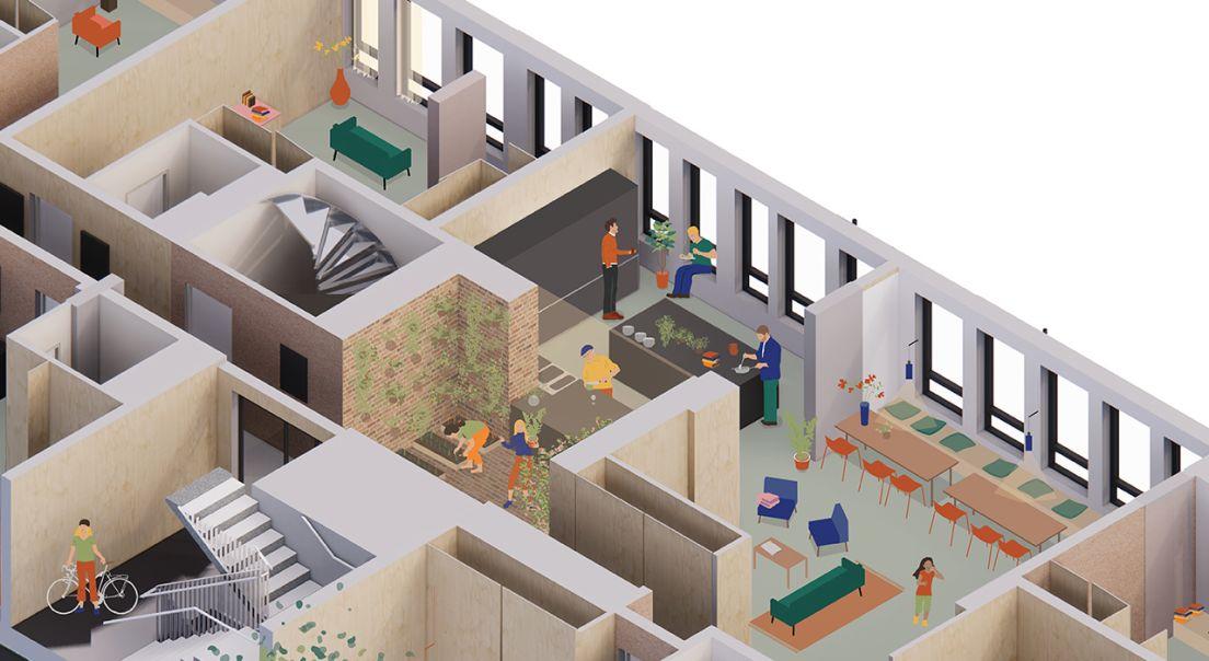 Illustrasjonsutsnitt av fellesområder og noen leiligheter i Obos living lab.