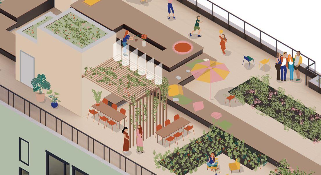 Illustrasjon av takterrassen på Obos living lab.