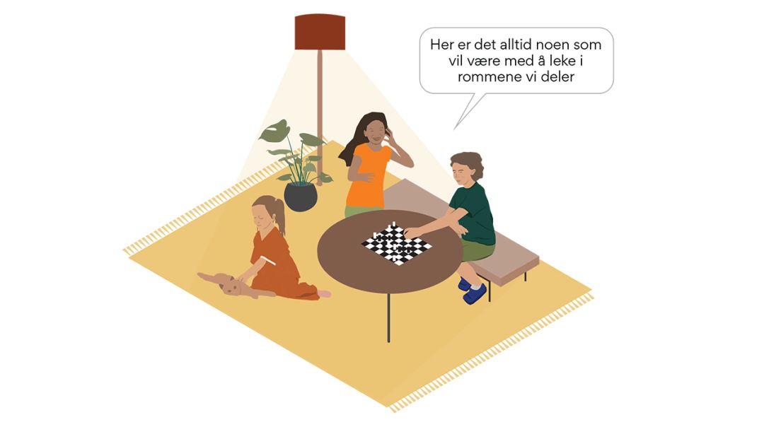 Illustrasjon av barn som leker sammen i et fellesområde.