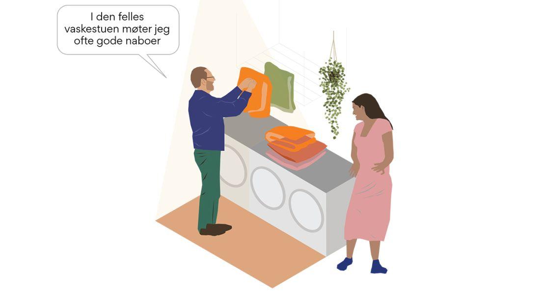 Illustrasjon av to mennesker i en vaskestue.