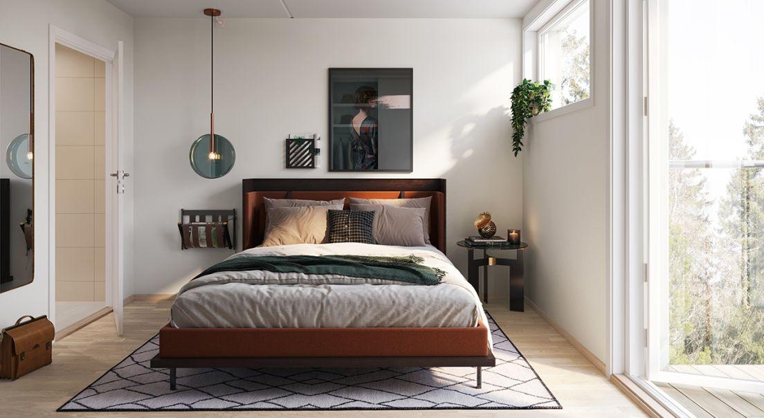 Illustrasjon av soverom i Hus E i Brekketunet på dagtid.