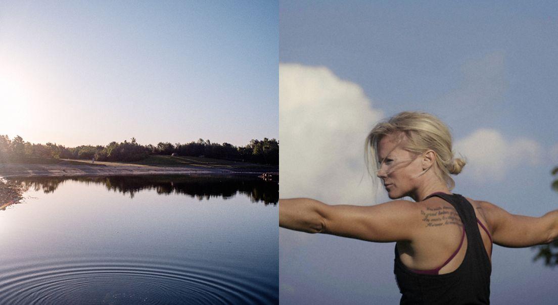Todelt foto som viser sjølinjen på Fornebu på den ene siden og driver av Fornebu yoga på den andre.