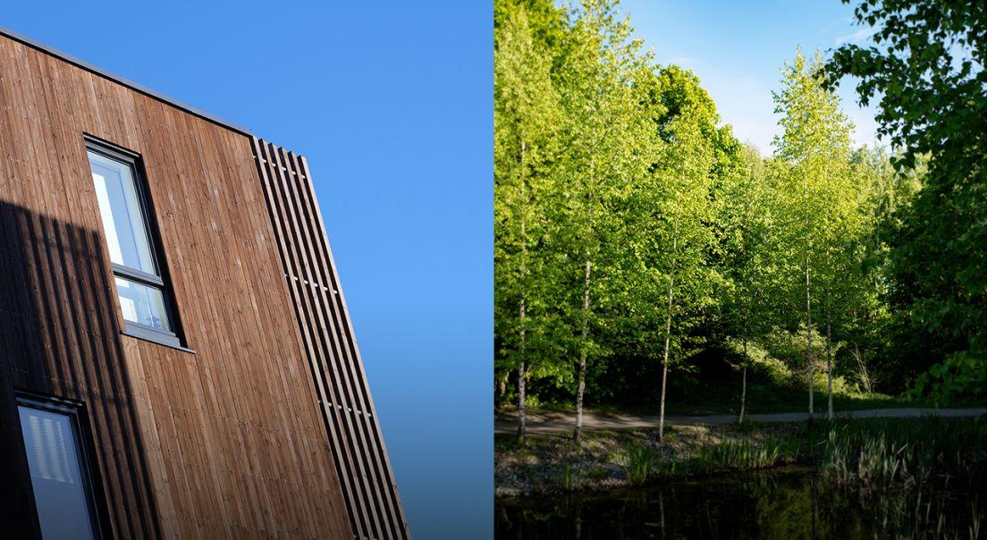 Todelt foto med fasade på den ene siden og skog og vann på den andre siden.