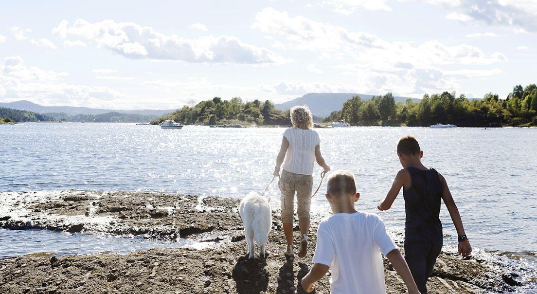 Bilde av kvinne, barn og hund på tur ved vannkanten på Fornebu