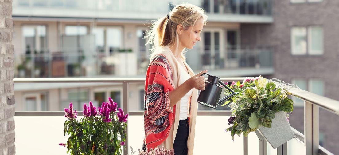En kvinne vanner blomster på balkongen sin
