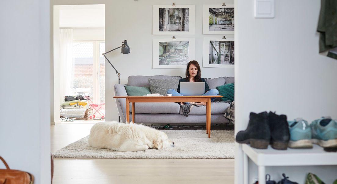 Kvinne i en stue med en hund