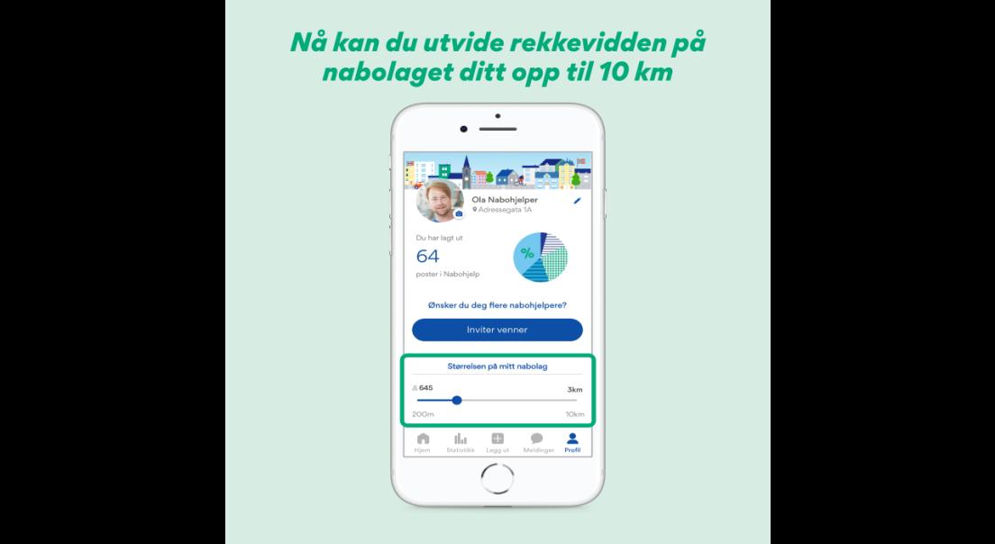 Skjermbilde av rekkeviddefunksjon i Nabohjelp-appen
