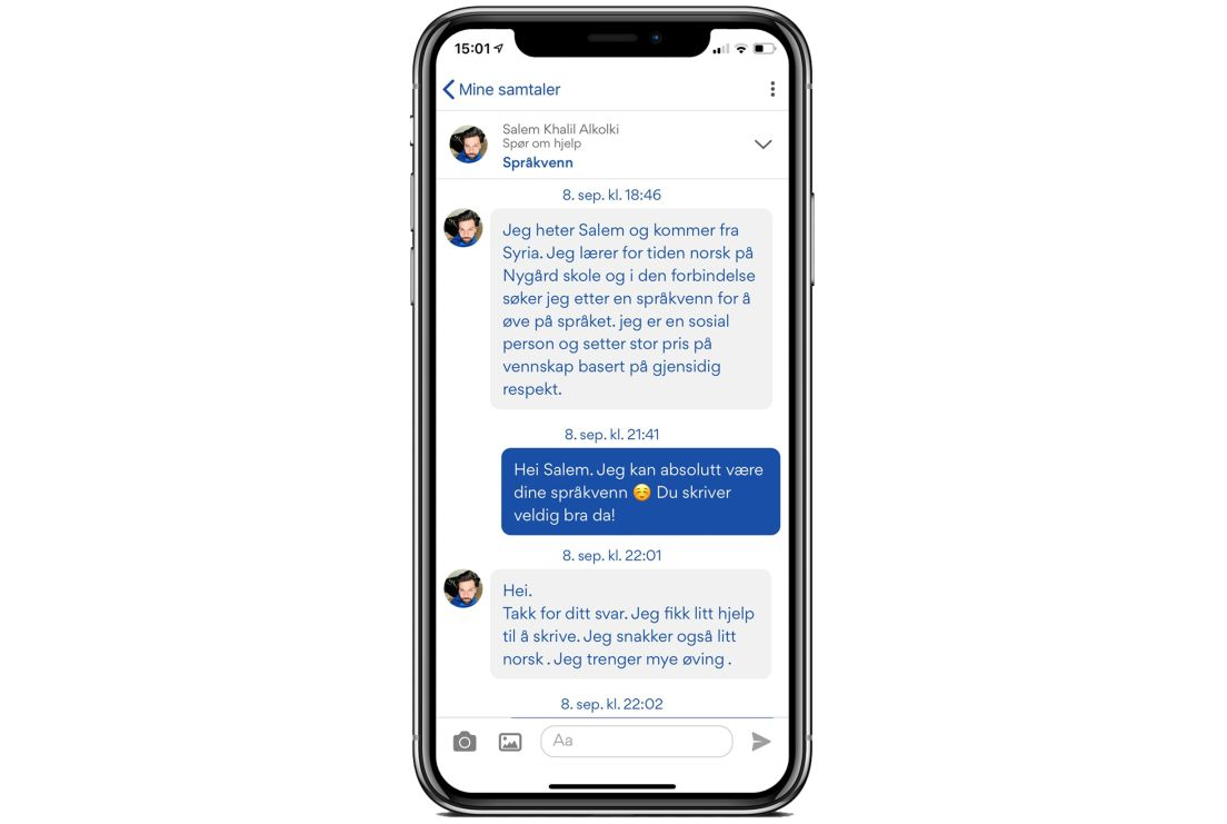 Skjermdump av Silje og Salem sin dialog i Nabohjelp-appen