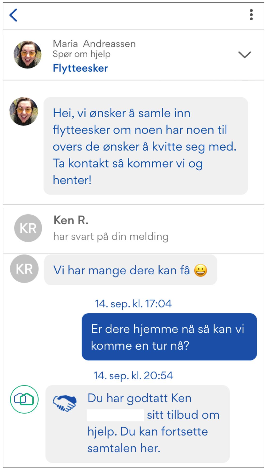 Et skjermdump av samtale mellom Maria Andreassen og en nabo om flytteesker.