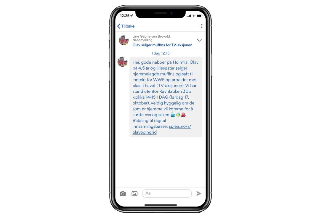 Skjermdump av Olav sin muffins-post i Nabohjelp-appen
