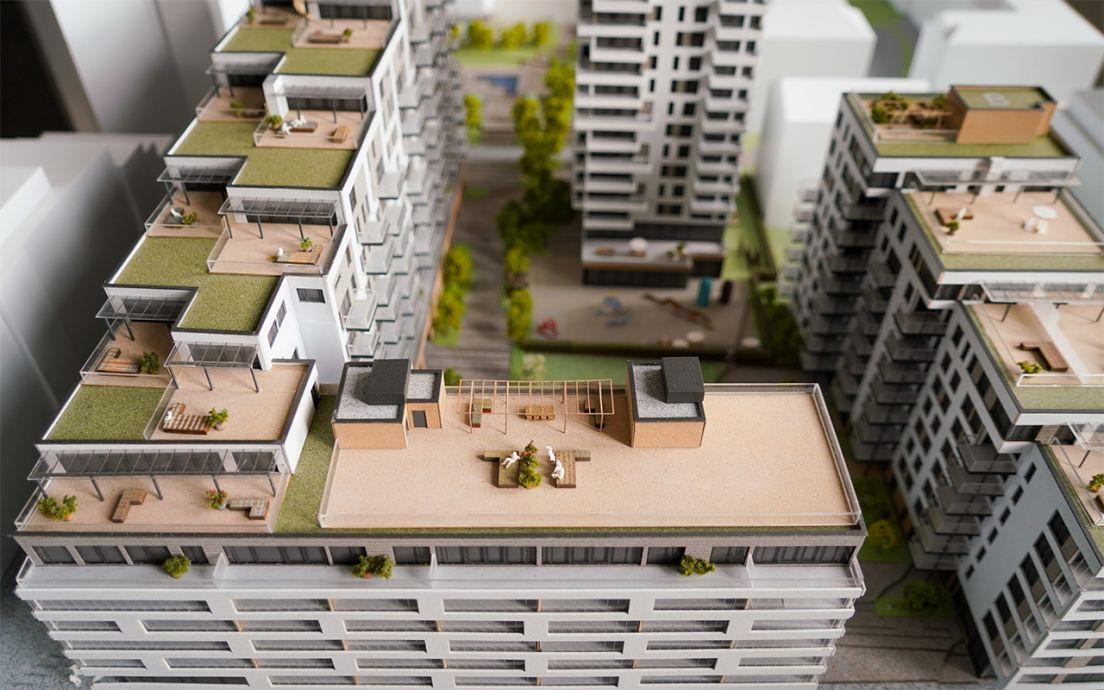 Modell av et boligprosjekt, Middelthunet på Majorstuen i Oslo.