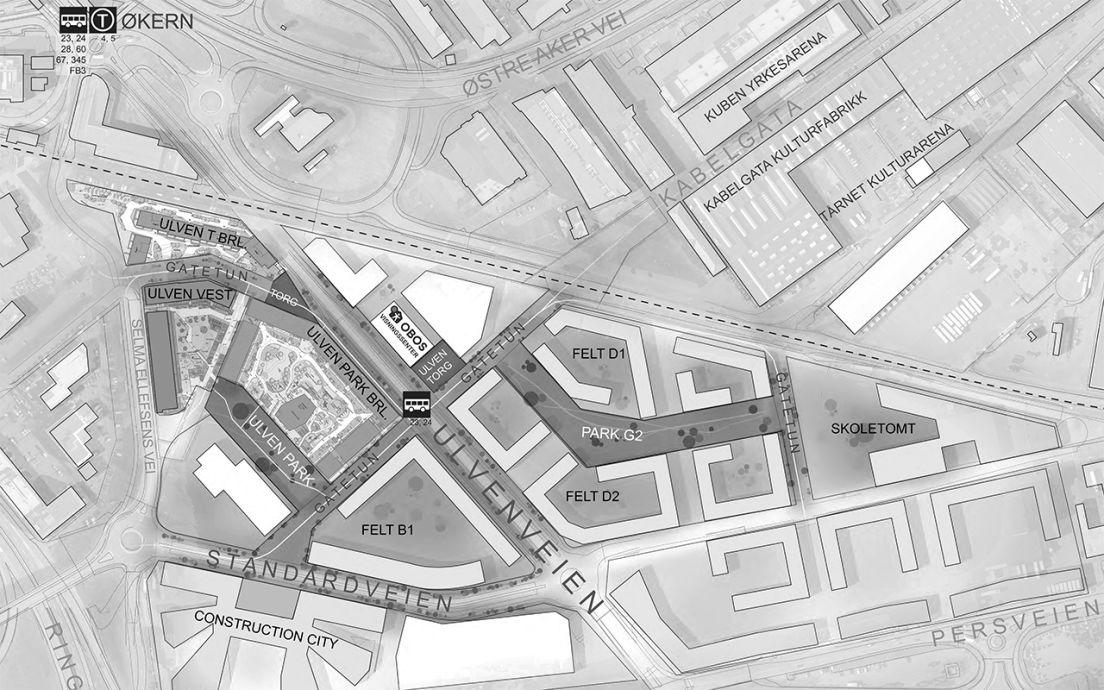 Kart over Ulven og Ulven park