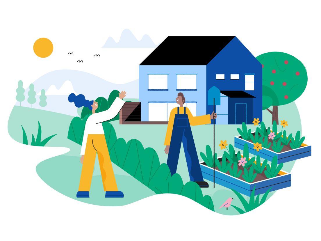 en illustration av en trädgård