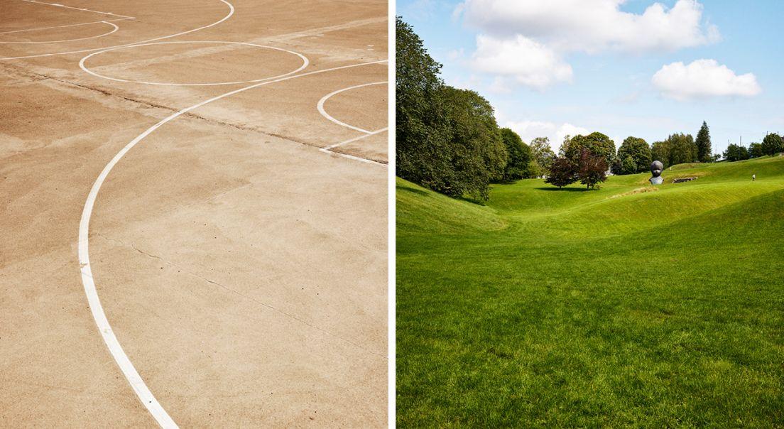 Todelt bilde som viser en basketbane på den ene siden og Torshovdalen på den andre.
