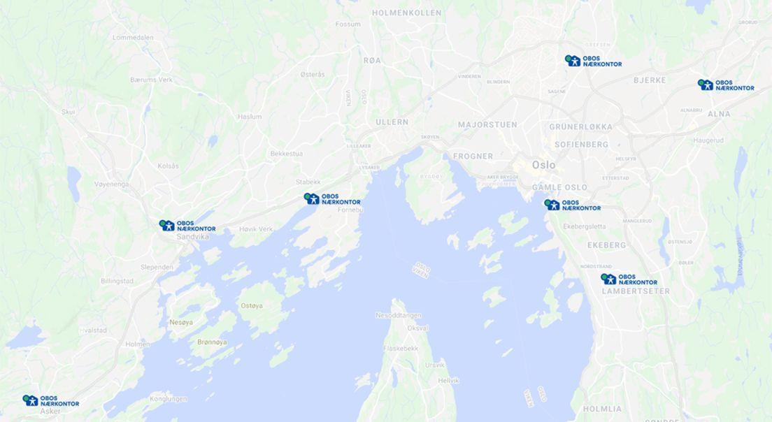 Kart over OBOS nærkontor