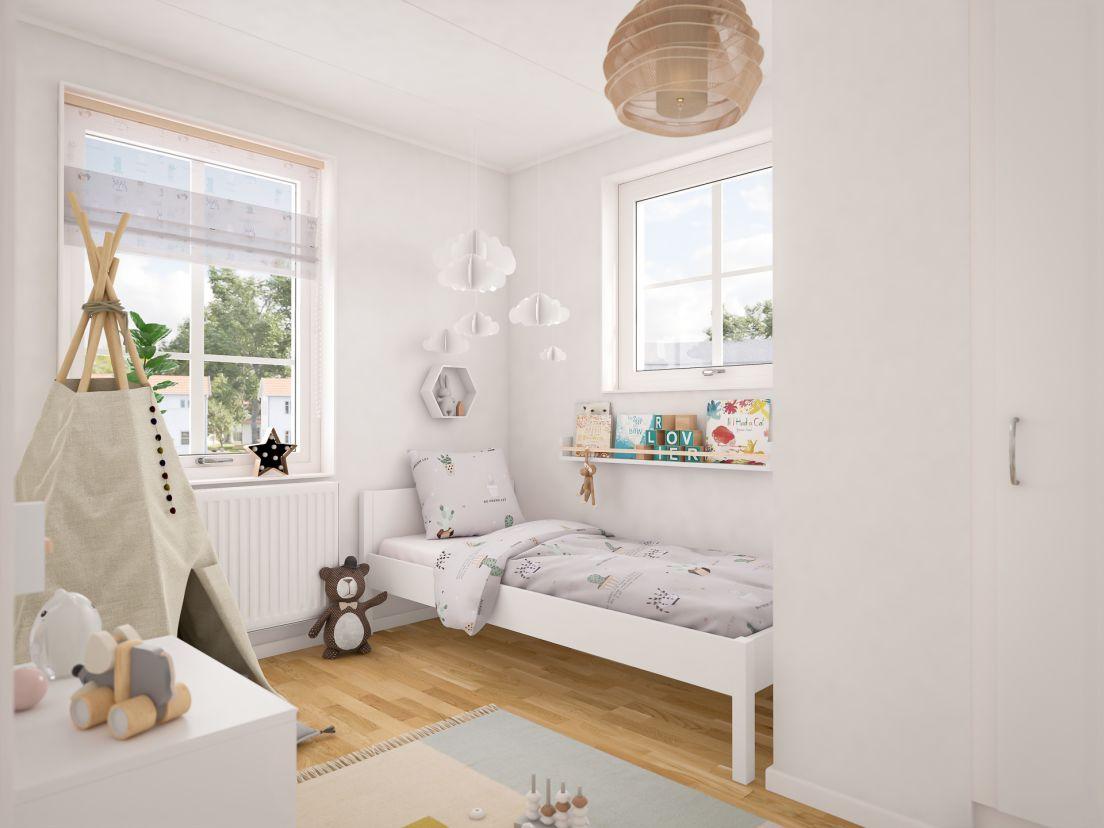 Barnkammare på ovanvåningen i en av bostäderna i Brf Karusellen som bostadsutvecklaren obos bygger i Örebro i området Nora Stensnäs