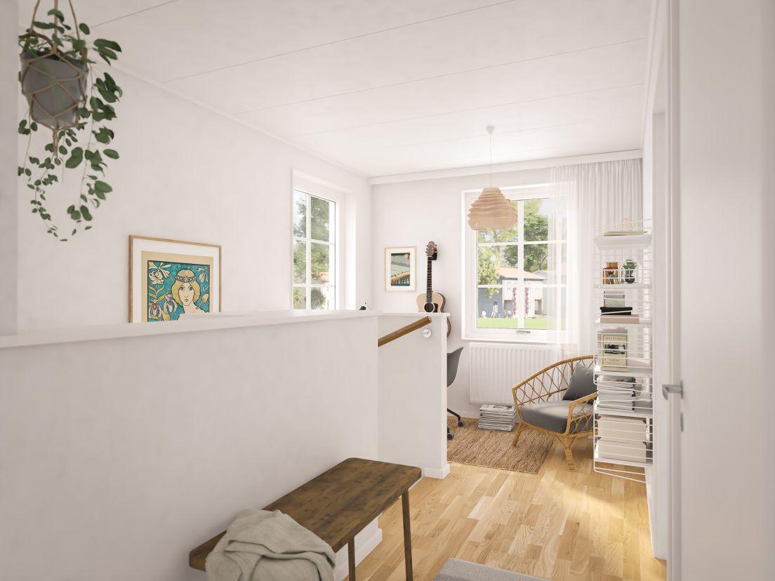 Ovanvåning i en av bostäderna i Brf Karusellen som bostadsutvecklaren obos bygger i Örebro i området Nora Stensnäs