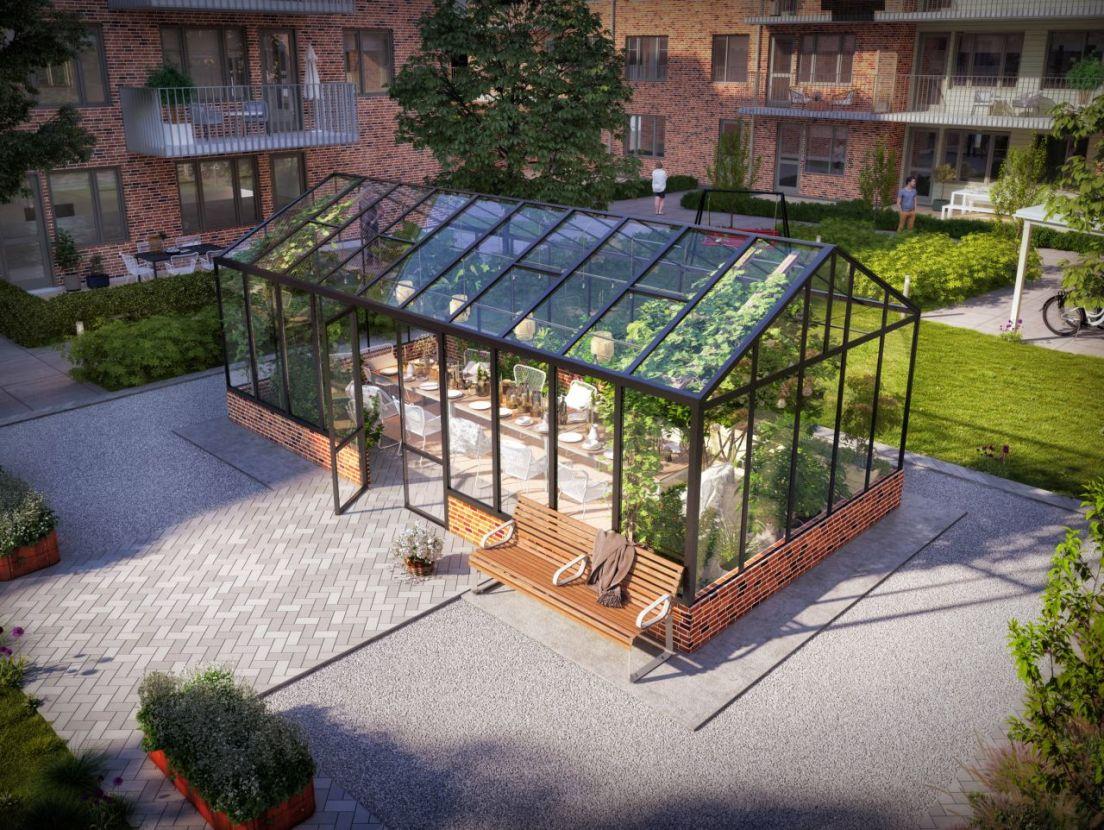 växthus på innergården