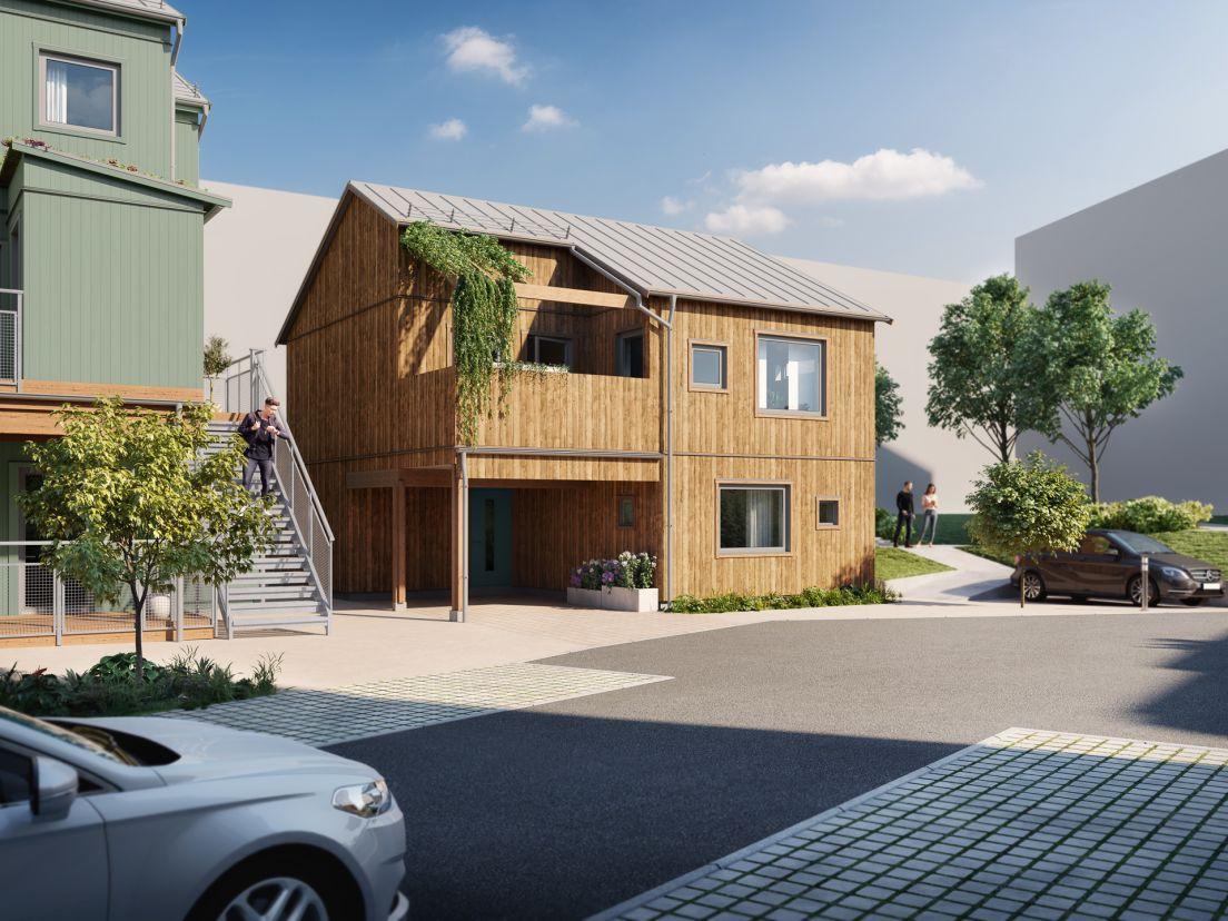 fristående trähus med söderläge på balkong