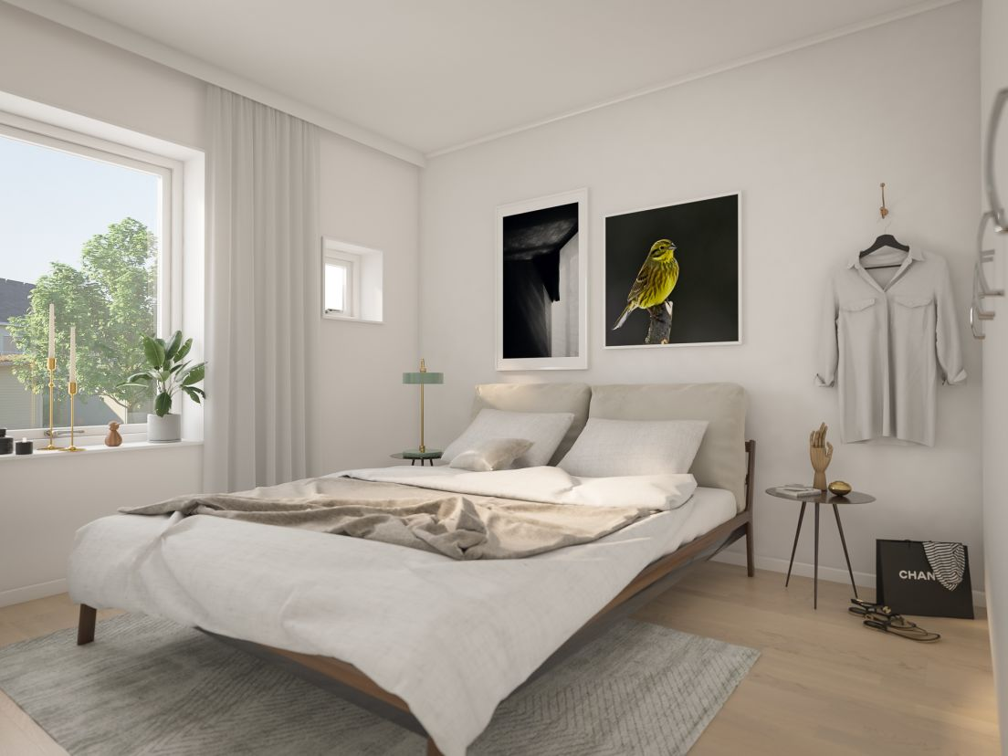sovrum i lägenhet 50 kvm Brf Gulsparven