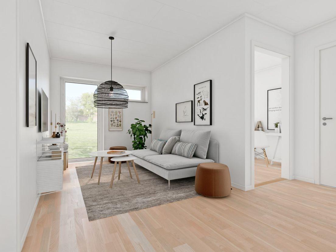 tv-rum med ljusgrå soffa