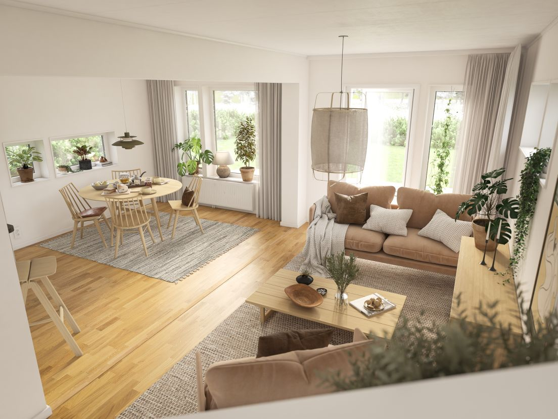 Vardagsrum interiör i brf valsjöskogen som obos bygger i åkersberga, margretelund