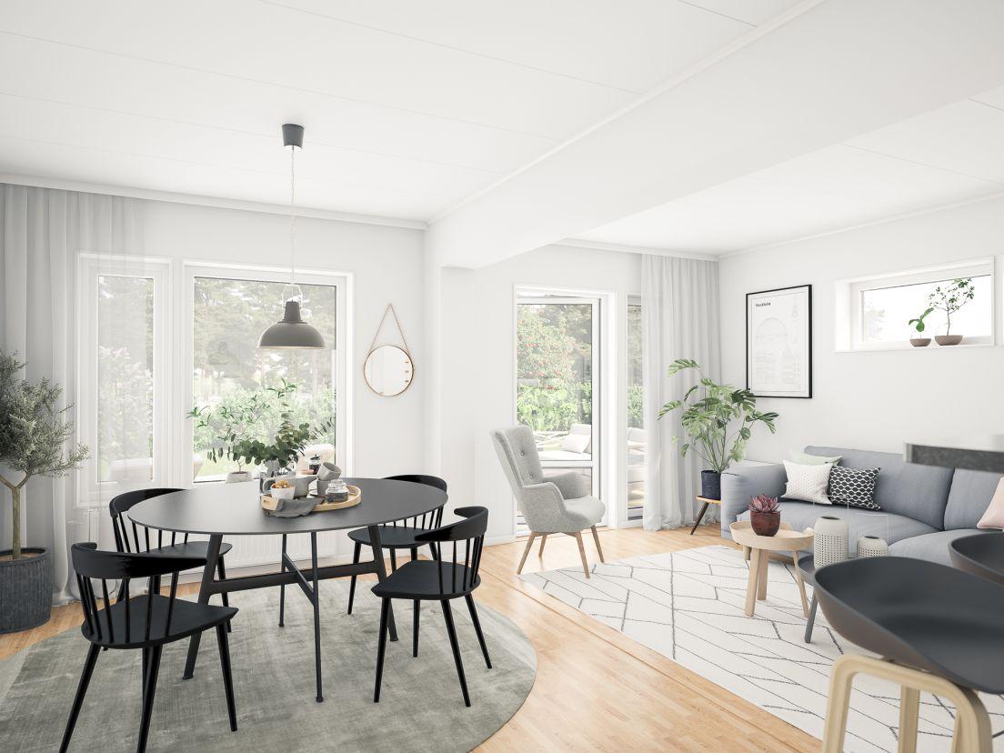 Ett köksbord i ett vardagsrum med öppen planlösning