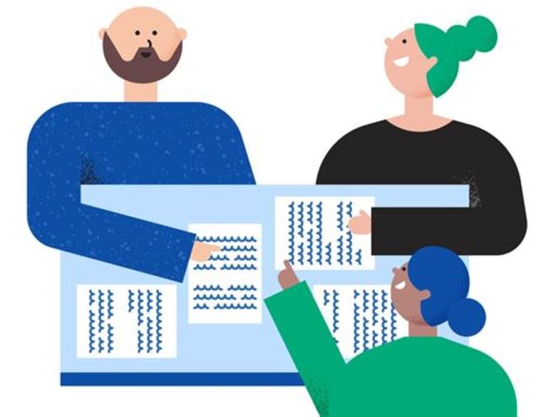 Illustration av tre personer i ett möte