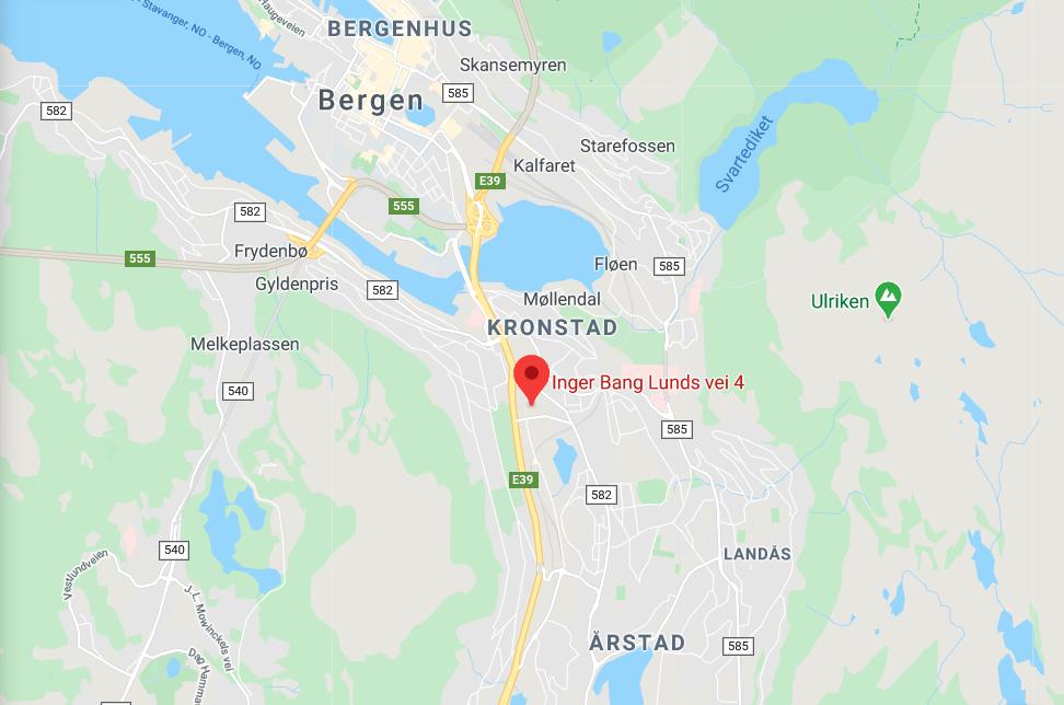 Kartutsnitt av Inger Bang Lunds vei 4, 5059 Bergen