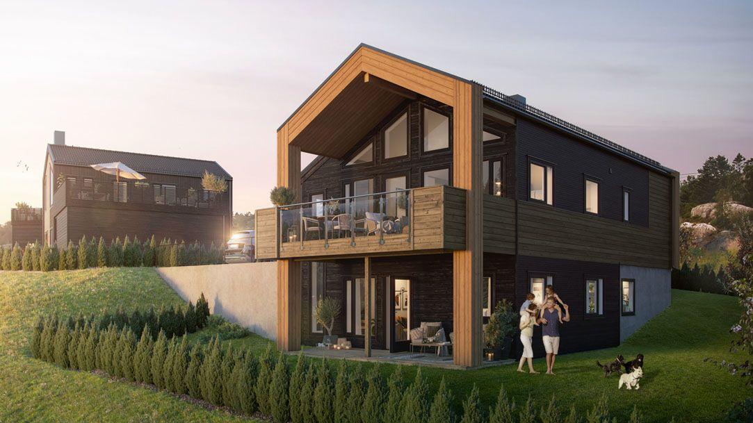 Fasade med hage