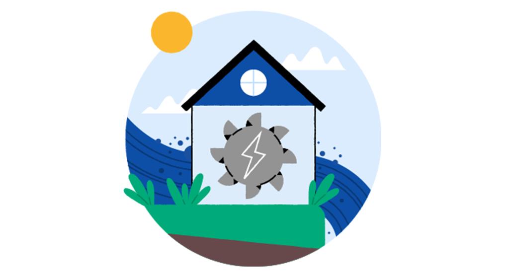 Illustrasjon av en vannmølle som genererer vannkraft