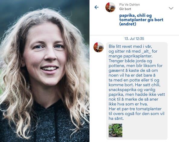 Bilde av Pia Ve Dahlen og posten i Nabohjelp-appen. Foto: Marte Haraldsen Photography