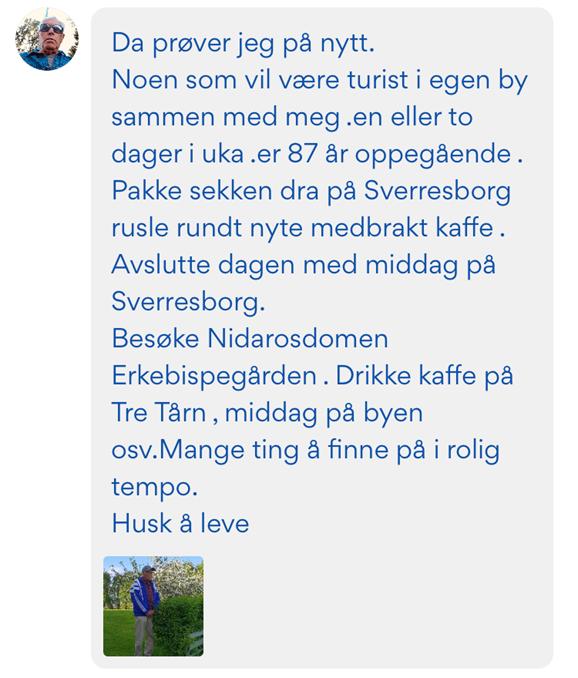 Skjermdump av Nabohjelp melding fra Helge